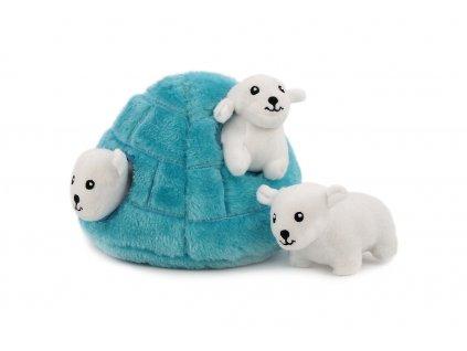Plyšová hračka pro psy – iglů se třemi ledními medvědy. Příjemný měkoučký materiál, ideální pro štěňata a menší plemena psů.