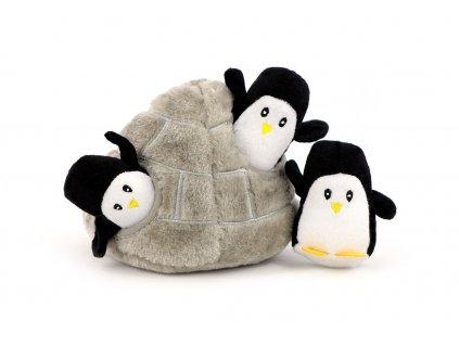 Plyšová hračka pro psy – iglů se třemi tučňáky. Příjemný měkoučký materiál, ideální pro štěňata a menší plemena psů.