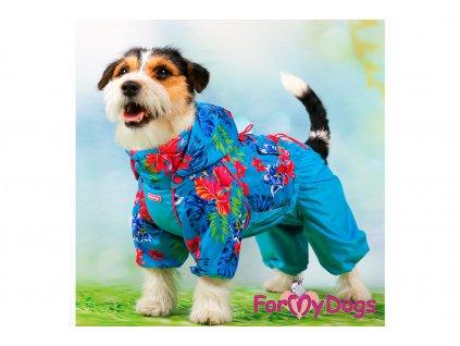 Obleček pro fenky pláštěnka BLUE FLOWERS 10