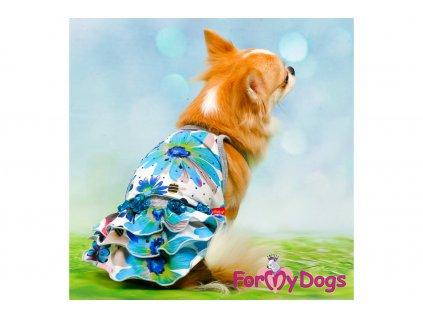 Obleček pro fenky šaty FLOWERS BLUE 5