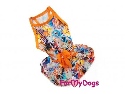 Obleček pro fenky šaty FLOWERS ORANGE