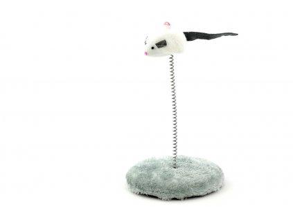 Hračka pro kočky myška na pružině