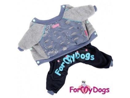 """Zimní bavlněný overal pro psy a fenky For My Dogs – modrý """"roztrhaný"""""""
