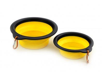 Silikonová skládací miska pro psy žlutá