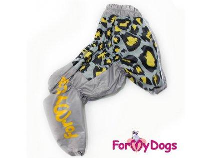 Zimní overal pro psy For My Dogs, šedý s potiskem