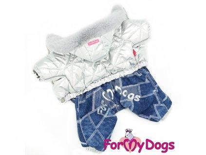 Obleček pro psy zimní overal SILVER BLUE