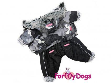 Zimní obleček pro psy overal BLACK PATCHWORK