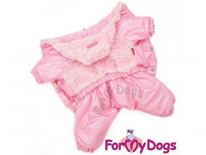 Růžový zimní obleček pro fenky overal PINK FUR