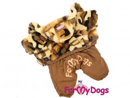 Obleček pro psy zimní overal BROWN CAMOUFLAGE