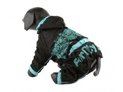 Overal, pláštěnka pro fenky For My Dogs, černá s potiskem a modrými lemy