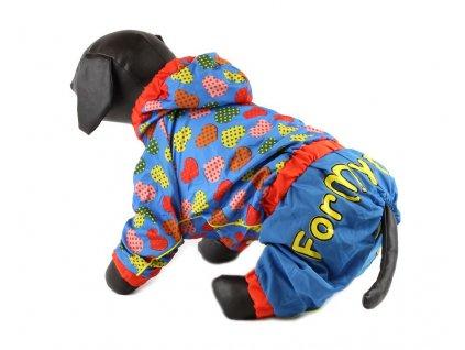 Overal, pláštěnka pro fenky For My Dogs, modrá s potiskem