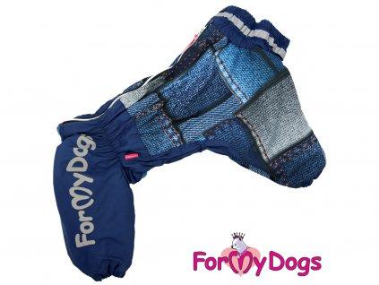 Obleček pro větší psy zimní overal DENIM PATCHWORK
