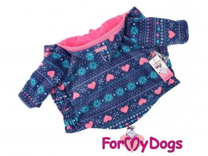 Obleček pro psy i fenky – zimní bunda FLEECE HEART PURPLE