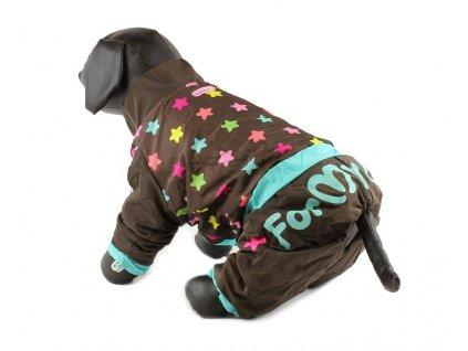 Overal, pláštěnka pro fenky For My Dogs, hnědá s hvězdami