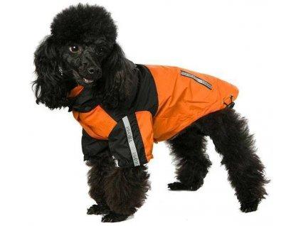 Nepromokavá bunda pro psy a fenky, oranžová s černou