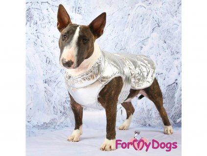 Obleček pro větší psy i fenky bunda METALLIC SILVER