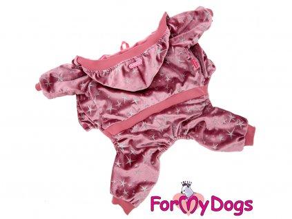 Obleček pro psy i fenky overal FMD PINK SILVER STARS