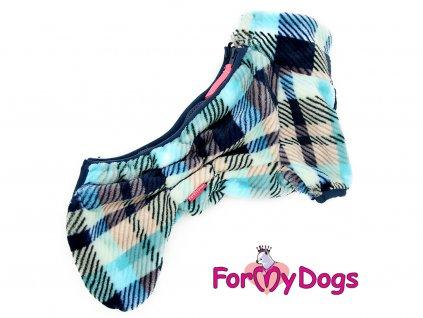 Obleček pro psy plyšový overal BLUE TARTAN