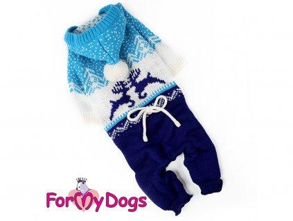 Obleček pro psy i fenky pletený overal BLUE REINDEER
