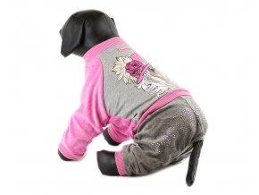 Velurový overal pro psy a fenky For My Dogs, růžový