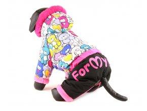 Obleček pro fenky – nepromokavý zimní overal od For my Dogs, potisk s medvídky