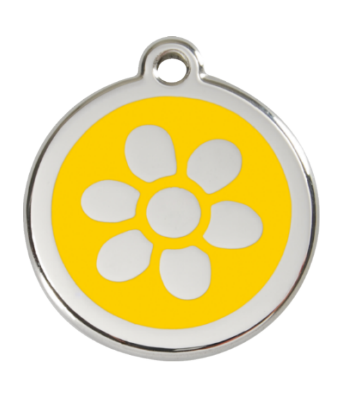 RED DINGO Malá známka pro psy, žlutá, květina
