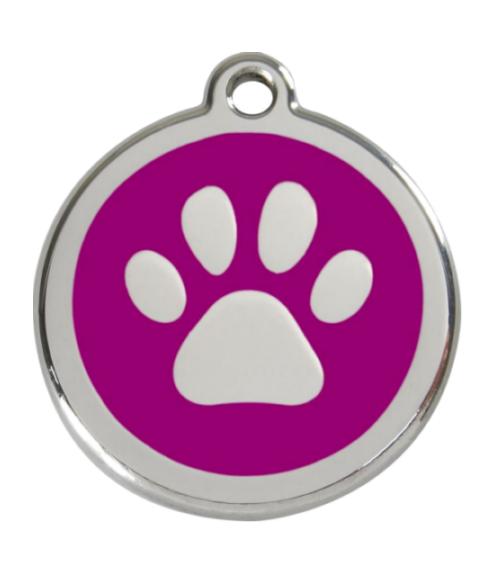 RED DINGO Malá známka pro psy, fialová, tlapka