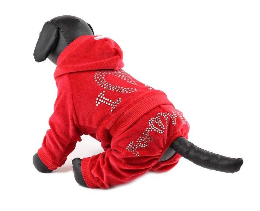 For My Dogs Overal Červený s kamínky Swarovski 12/S Velikost: 12/S