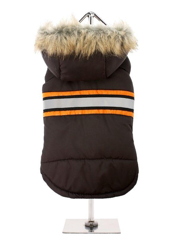 URBAN PUP Zimní bunda Hnědá s kožešinou L