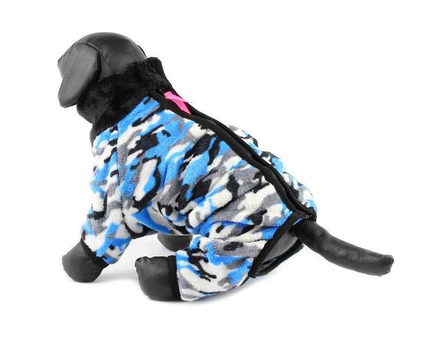 For My Dogs Overal Plyšový Modrý Velikost: 12/S