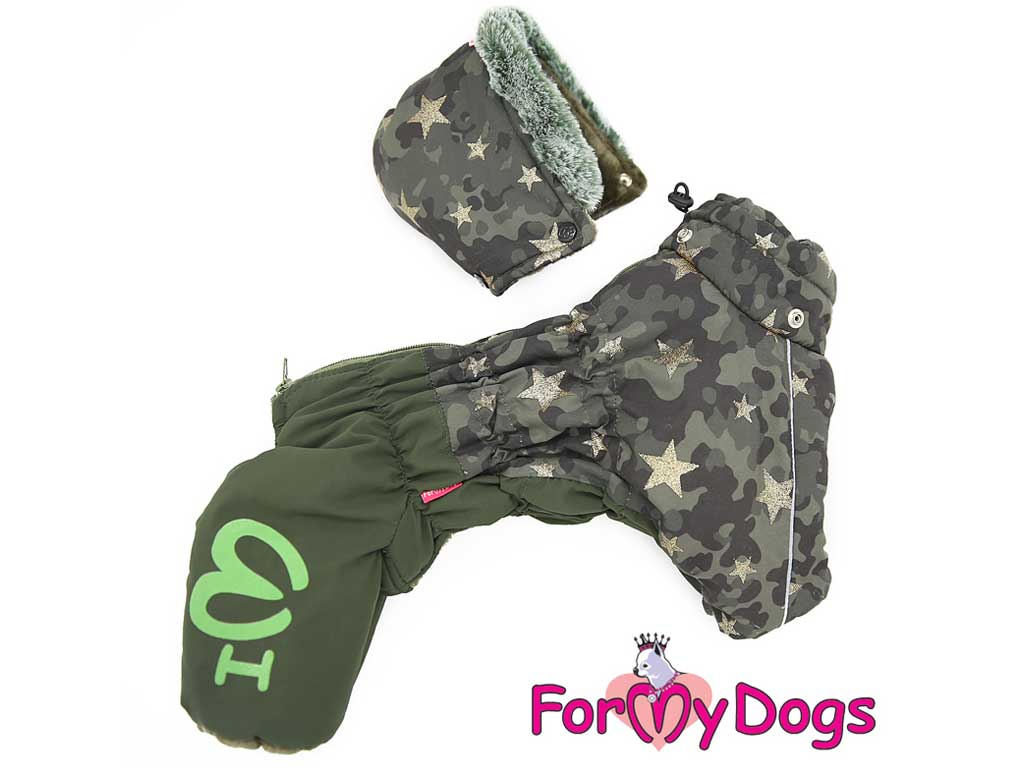 FOR MY DOGS Overal CAMO STAR Khaki Velikost: 20/XXL