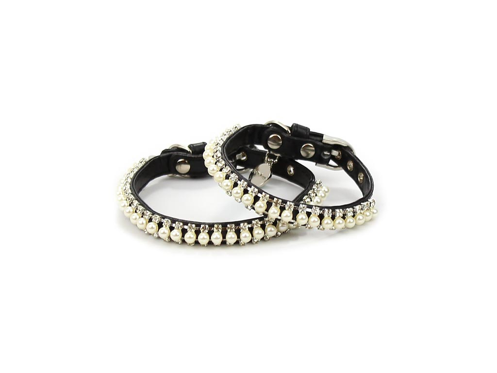 FOR MY DOGS Obojek BLACK WITH PEARLS Velikost: XS
