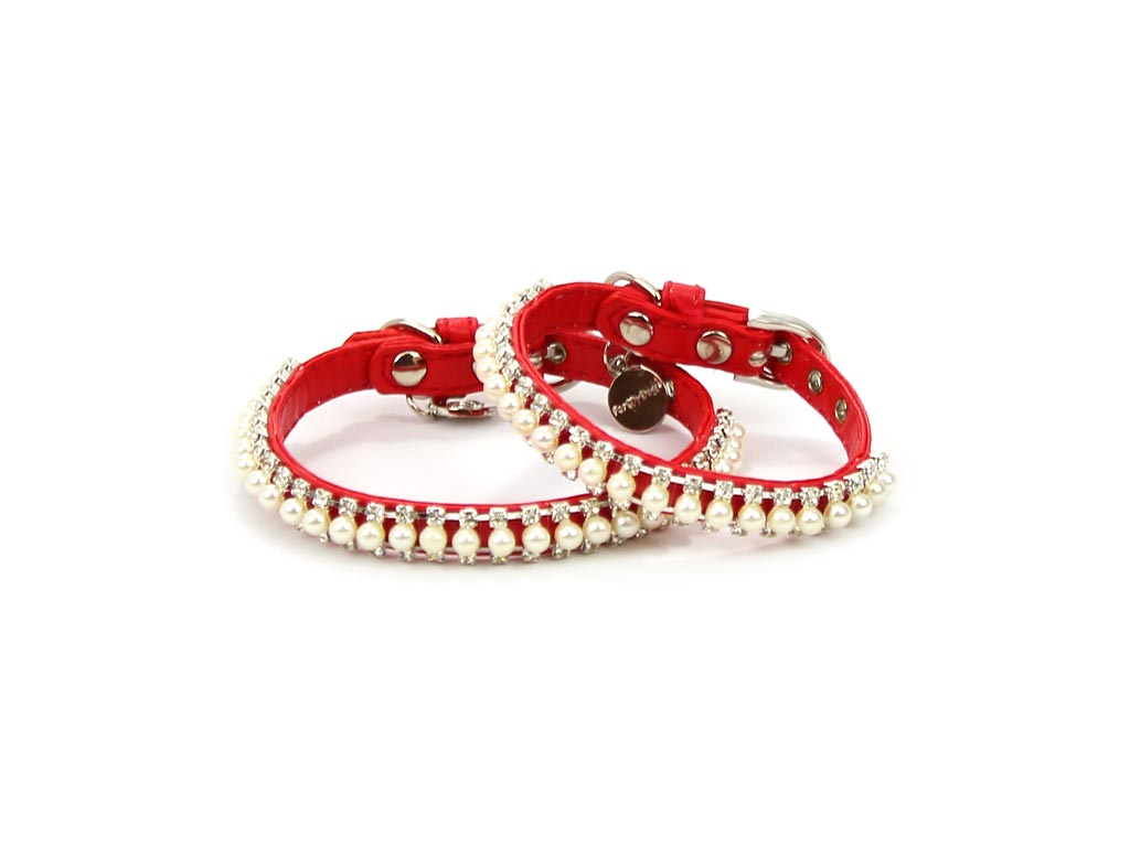 FOR MY DOGS Obojek RED WITH PEARLS Červený Velikost: XS