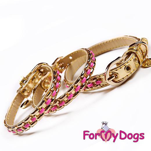 FOR MY DOGS Obojek kožený se zlatým a růžovým zdobením 29-34 cm Velikost: S