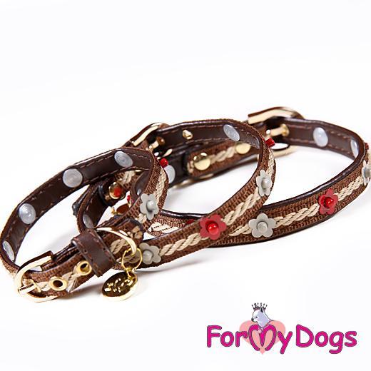 FOR MY DOGS Obojek kožený s vyšíváním a zdobením 29-34 cm