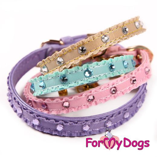 FOR MY DOGS Obojek s kamínky a přívěškem 21-26 cm Barva: fialová, Velikost: XS