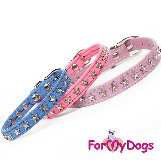 FOR MY DOGS Obojek stříbrné hvězdy 24-34 cm Barva: fialová, Velikost: XS
