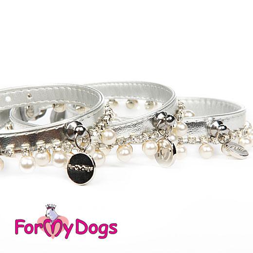 FOR MY DOGS Obojek s kamínky a perlami 24-29 cm Barva: stříbrná, Velikost: XS
