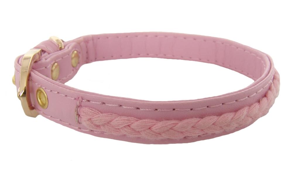 FOR MY DOGS Obojek s copánky 33,5 x 1,3 cm Barva: růžová, Velikost: M