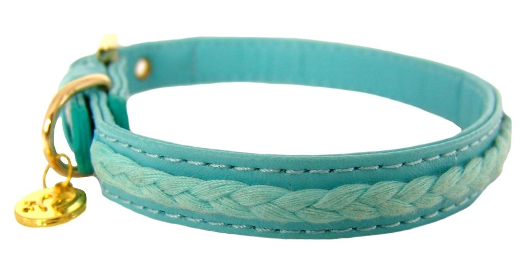 FOR MY DOGS Obojek s copánky 33,5 x 1,3 cm Barva: Modrá, Velikost: M