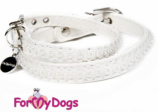 FOR MY DOGS Obojek s perličkami 24,5-33 cm Barva: Modrá, Velikost: XS