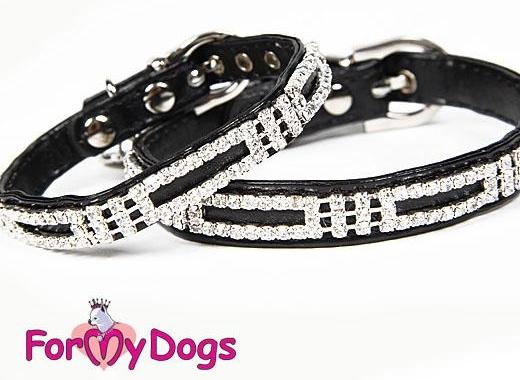 FOR MY DOGS Obojek černý s kamínky 1,3 x 30 cm