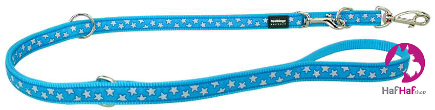 RED DINGO vodítko přepínací Stars White on Turquoise 2 m