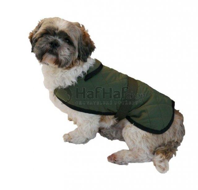 Nepromokavý prošívaný kabát pro psy a fenky, zelený S