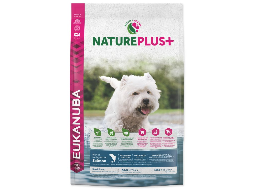 EUKANUBA Nature Plus+ Adult Small Breed Rich in freshly frozen Salmon 10kg