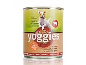 682 800g yoggies hovezi konzerva pro psy s karotkou a lnenym olejem