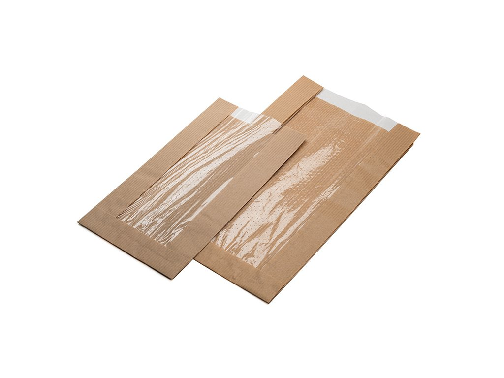 Papírový sáček s PP oknem 24+6x39 cm