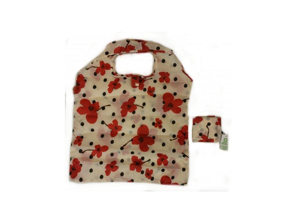 Taška skládací polyester - makové květy