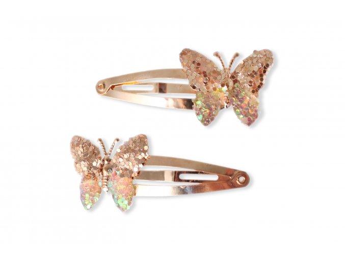 Sponky zlaté nebo stříbrné s motýlem, 2 ks