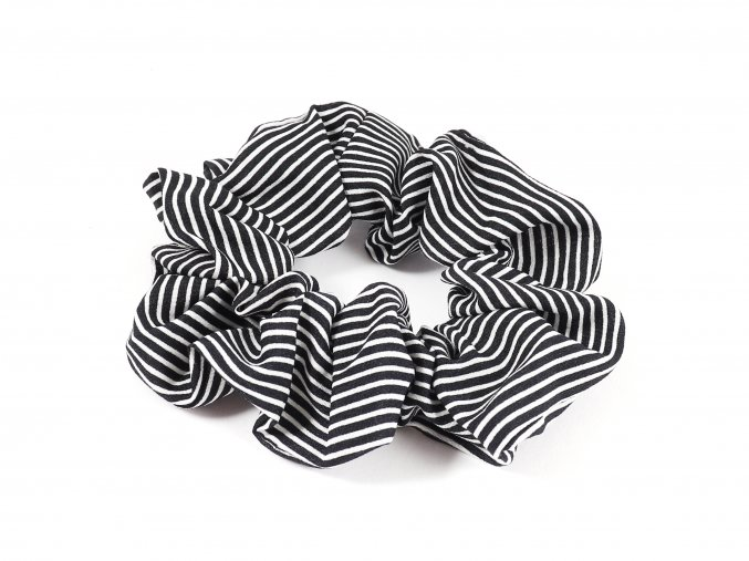 Látková gumička do vlasů s proužkem